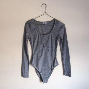 TOBI Gray Long Sleeve Bodysuit